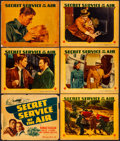 Movie Posters:Action, Secret Service of the Air (Warner Brothers, 1938). Fine+. Linen Finish Title Lobby Card, Linen Finish Lobby Cards (4), & Lin... (Total: 6 Items)