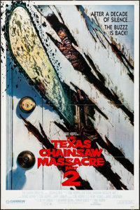"""The Texas Chainsaw Massacre Part 2 (Cannon, 1986). Folded, Very Fine. International One Sheet (27"""" X 41""""). Hor..."""