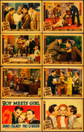 "Movie Posters:Comedy, Boy Meets Girl (Warner Brothers, 1938). Fine/Very Fine. Linen Finish Lobby Card Set of 8 (11"" X 14""). Comedy.. ... (Total: 8 Items)"
