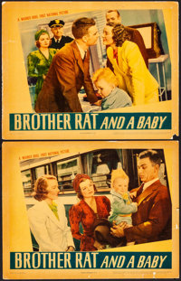 "Brother Rat and a Baby (Warner Brothers, 1940). Fine/Very Fine. Linen Finish Lobby Cards (2) (11"" X 14""). Come..."