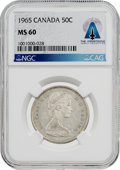 Explorers:Space Exploration, Coins: Canada 1965 50¢ MS60 NGC Half Dollar Directly From The Armstrong Family Collection™, CAG Certified....