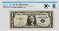 Explorers:Space Exploration, Currency: $1 1957 Silver Certificate Fr. 1619 (PA Block), PMG Very Fine 30 Exceptional Paper Quality, Directly From The Ar...