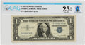 Explorers:Space Exploration, Currency: $1 1957A Silver Certificate Fr. 1620 (CA Block), PMG Very Fine 25 Exceptional Paper Quality, Directly From The A...