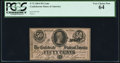 Confederate Notes:1864 Issues, T72 50 Cents 1864 PF-1 Cr. 578 PCGS Very Choice New 64.. ...
