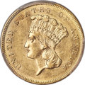 Three Dollar Gold Pieces, 1857-S $3 S.S. Central America #2 (with Pinch) MS61 PCGS....