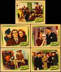 "Accidents Will Happen (Warner Brothers, 1938). Very Fine-. Linen Finish Lobby Cards (5) (11"" X 14""). Crime..."