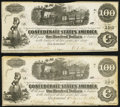 Confederate Notes:1862 Issues, T40 $100 PF-1 Cr. 298 Two Examples Fine.. ... (Total: 2 notes)