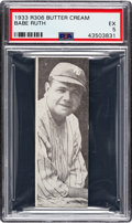 Baseball Cards:Singles (1930-1939), 1933 Butter Cream Babe Ruth PSA EX 5 - A Relic of Hobby History....