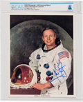 Explorers:Space Exploration, Neil Armstrong Signed, Uninscribed White Spacesuit Color Photo Directly From The Armstrong Family Collection™, CAG Certifi...