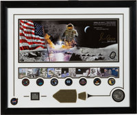"Gene Cernan Signed Limited Edition, #AP 092/200, ""Golden Age of Space"" Framed Display with Apollo 17 Medal con..."