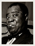 Movie/TV Memorabilia:Photos, Louis Armstrong Black and White Photo From Original Negative Hand Signed by Photographer. . ...