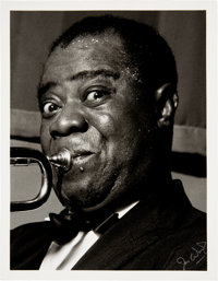 Louis Armstrong Black and White Photo From Original Negative Hand Signed by Photographer