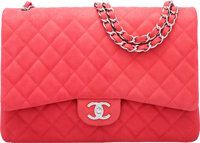 "Chanel Pink Quilted Caviar Leather Maxi Double Flap Bag with Silver Hardware Condition: 3 13"" Width x 9"" Heigh..."