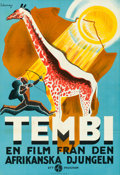 "Movie Posters:Documentary, Tembi (Svensk Filmindustri, 1930). Folded, Very Fine+. Full-Bleed Swedish One Sheet (27"" X 39.5"") E. Dahlskog Artwork.. ..."