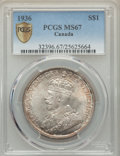 Canada, George V Dollar 1936 MS67 PCGS,...