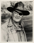 Movie/TV Memorabilia:Autographs and Signed Items, John Wayne Signed and Inscribed Black and White Photo. . ...