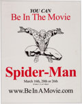 """Movie/TV Memorabilia:Memorabilia, Spider-Man """"Be In A Movie"""" Laminated Poster With All Access Pass and World Unity Festival Pennant and Button (2002)...."""