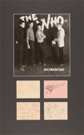 Music Memorabilia:Autographs and Signed Items, The Who Set of Autographs Along With Ticket and Photo (circa late 1960s, mid-1970s). . ...