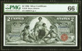 Large Size:Silver Certificates, Fr. 248 $2 1896 Silver Certificate PMG Gem Uncirculated 66 EPQ.. ...