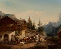 Heinrich Bürkel (German, 1802-1869) Landscape with Shepherd with Cattle in front of Alpine Village O