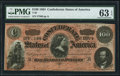 Confederate Notes:1864 Issues, T65 $100 1864 PF-3 Cr. 494 PMG Choice Uncirculated 63 EPQ.. ...