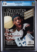 Basketball Collectibles:Publications, 2002 LeBron James First Sports Illustrated Magazine, CGC 7.5. ...