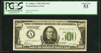 Fr. 2200-A $500 1928 Federal Reserve Note. PCGS About New 53