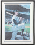 Autographs:Others, Mickey Mantle Framed Signed Oversized Lithograph from Mantle's Restaurant....