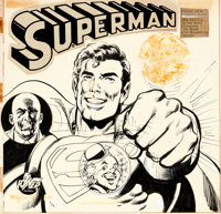 Neal Adams and Dick Giordano Superman LP #8169 Cover Original Art, Printed Cover Proof, and ... (Total: 3)