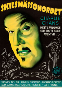 "Charlie Chan in Reno (20th Century Fox, 1939). Folded, Very Fine. Full-Bleed Swedish One Sheet (27.5"" X 38.75""..."