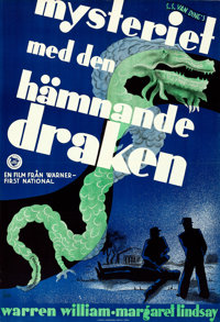 "The Dragon Murder Case (Warner Brothers First National, 1936). Folded, Very Fine+. Full-Bleed Swedish One Sheet (27""..."