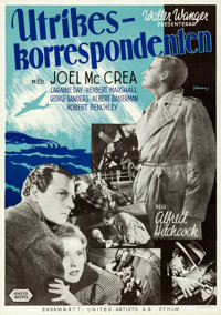 """Foreign Correspondent (United Artists, 1941). Folded, Very Fine. Swedish One Sheet (27.5"""" X 39.5""""). Hitchcock..."""