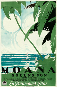 "Moana (Paramount, 1926). Folded, Very Fine. Swedish One Sheet (23.25"" X 35"")"