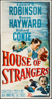 "House of Strangers (20th Century Fox, 1949). Folded, Very Fine-. Three Sheet (41"" X 78.5""). Film Noir"