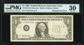 Missing Green Portion of Third Printing Error Fr. 1921-B $1 1995 Federal Reserve Note. PMG Very Fine 30
