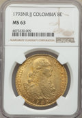 Colombia, Charles IV gold 8 Escudos 1793 NR-JJ MS63 NGC, Nue...