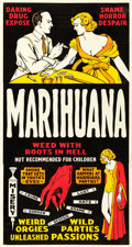 "Movie Posters:Exploitation, Marihuana (Roadshow Attractions, 1936). Very Fine on Linen. Three Sheet (42"" X 79"").. ..."