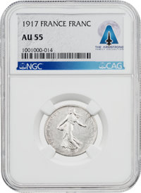 Coins: France 1917 1 Franc AU55 NGC Coin Directly From The Armstrong Family Collection™, CAG Certified