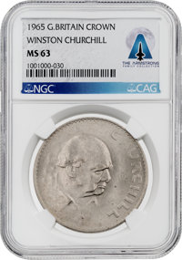 COINS: Great Britain 1965 Crown MS63 NGC Winston Churchill Coin Directly From The Armstrong Family Collection™, CAG Cert...