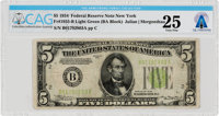 Currency: $5 1934 Federal Reserve Note Fr. 1955-B Light Green Seal (BA Block), PMG Very Fine 25, Directly From The Armst...