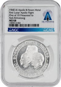 Apollo 8 MS68 NGC Manned Flight Awareness Medal, One of Only Ten Presented to Neil Armstrong, Directly from The Armstron...