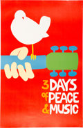 Music Memorabilia:Posters, Woodstock Poster Genuine Original Large Size Minus the Black Ink.. ...