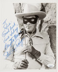 Movie/TV Memorabilia:Autographs and Signed Items, Clayton Moore The Lone Ranger Signed and Inscribed Black and White Photo.. ...