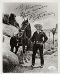 Movie/TV Memorabilia:Autographs and Signed Items, Gene Autry Inscribed and Signed Black and White Photo. . ...