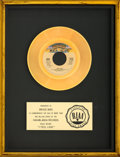 "Music Memorabilia:Awards, Donna Summer ""I Feel Love"" RIAA Gold Sales Award (Casablanca, 1977). . ..."