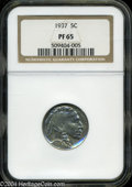 Proof Buffalo Nickels: , 1937 5C PR 65 NGC. ...