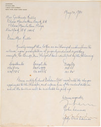 John Lennon and Yoko Ono Hand-Signed Letter to Gertrude Rullo (1980)
