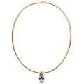 Estate Jewelry:Necklaces, Amethyst, Gold Pendant-Necklace. ... (Total: 2 Items)