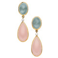 Estate Jewelry:Earrings, Aquamarine, Rose Quartz, Diamond, Gold Earrings. ...