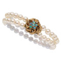 Estate Jewelry:Bracelets, Opal, Cultured Pearl, Gold Bracelet . ...
